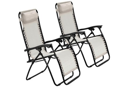 Image of the HOME Cream Reclining Sun Loungers - Set of 2.