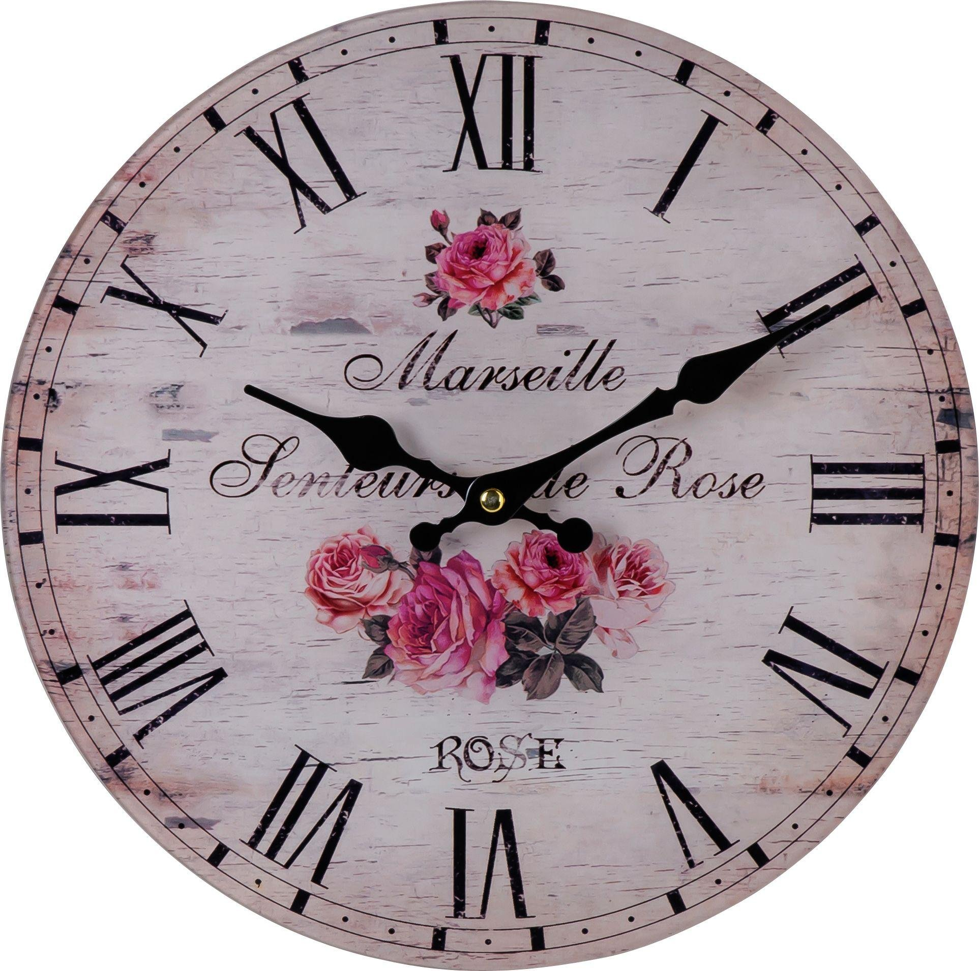 Rose De Provence Round Wall Clock Rose Pink