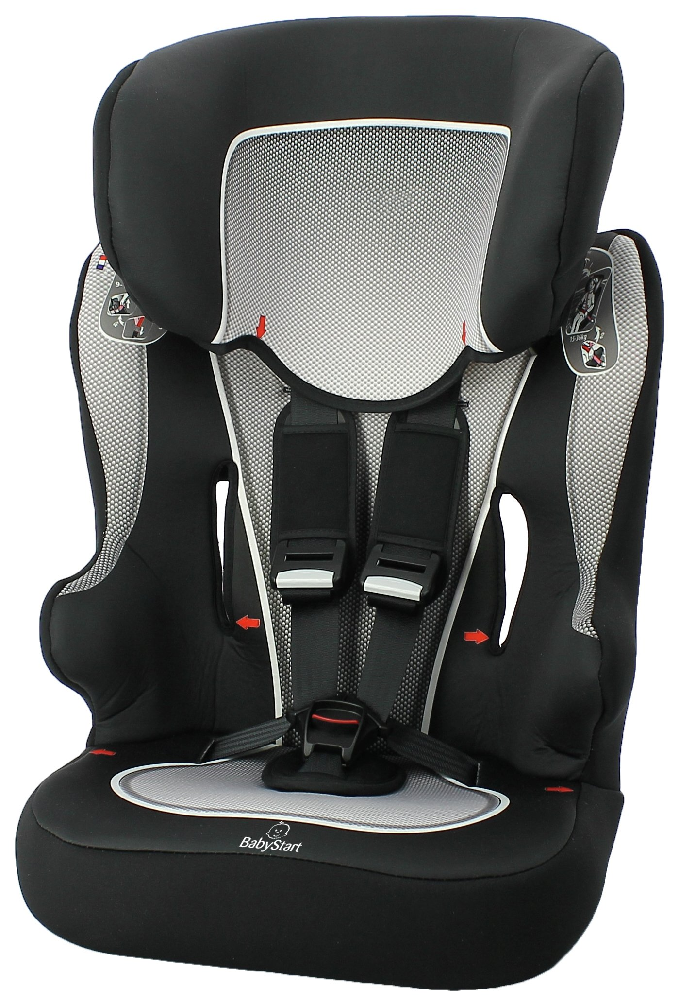 Image of BabyStart - Racer-Group 1-2-3 Black and Grey - Car Seat