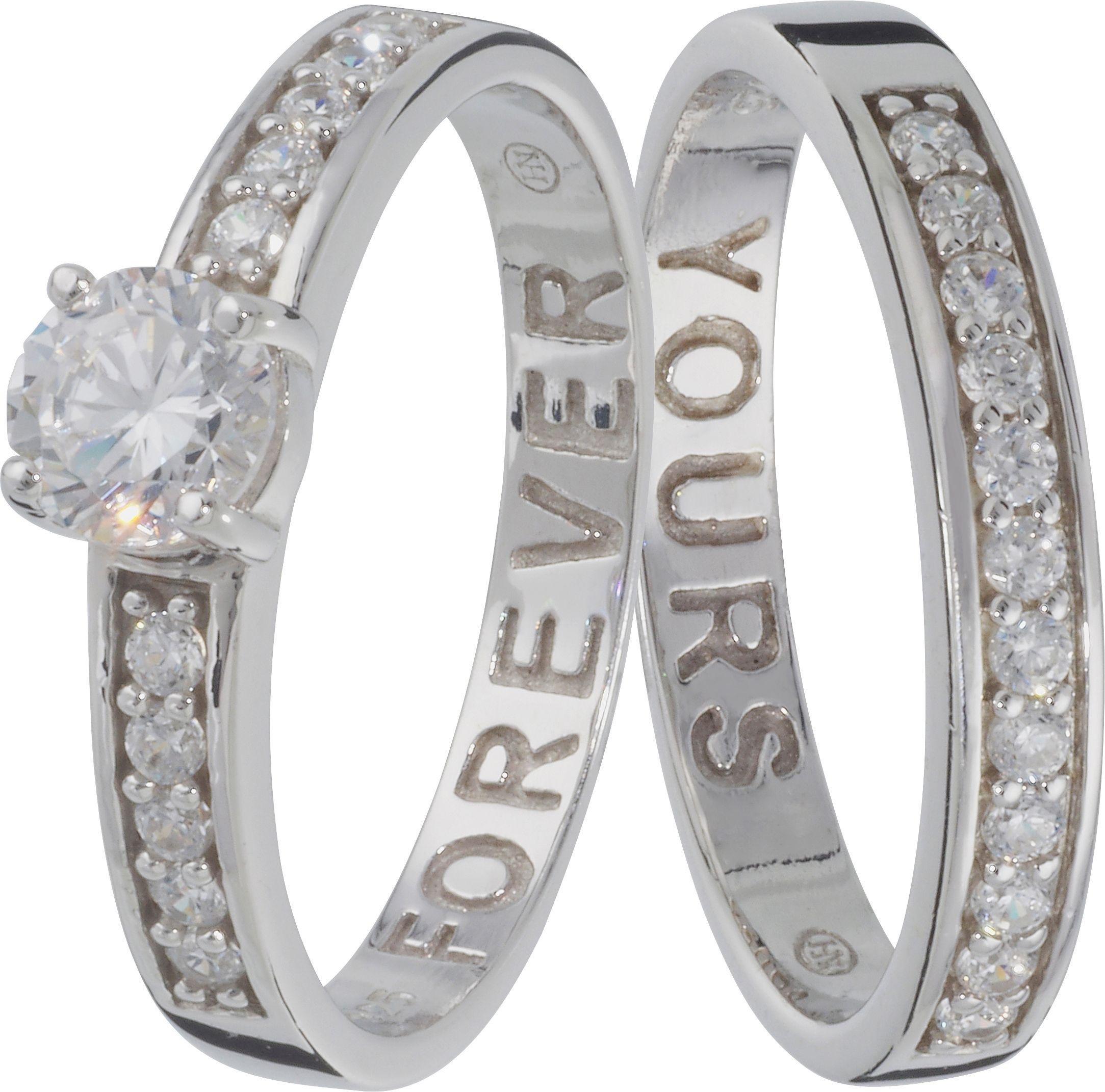 Buy Moon & Back Sterling Silver Cubic Zirconia Eternity Ring Set