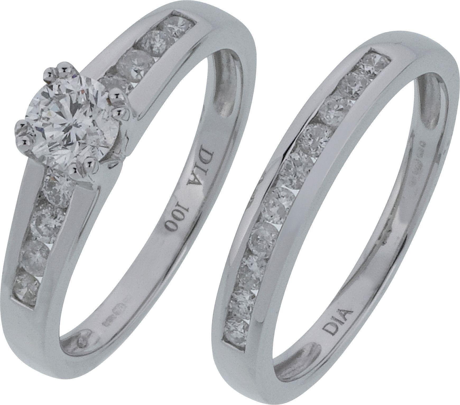 Made For You - 9 Carat Gold - 05 Carat Diamond - Bridal 2 Ring Set - L