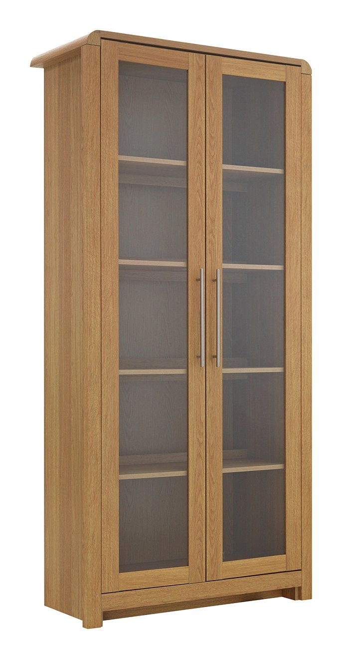 argos home elford 2 door display cabinet oak effect. Black Bedroom Furniture Sets. Home Design Ideas