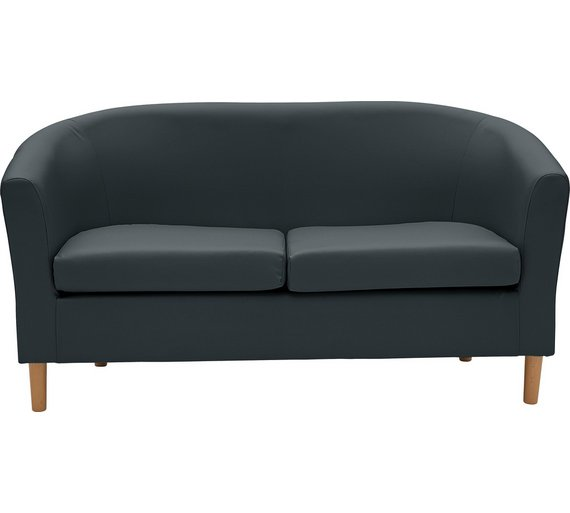 Buy Home 2 Seater Leather Effect Tub Sofa Black At Argos