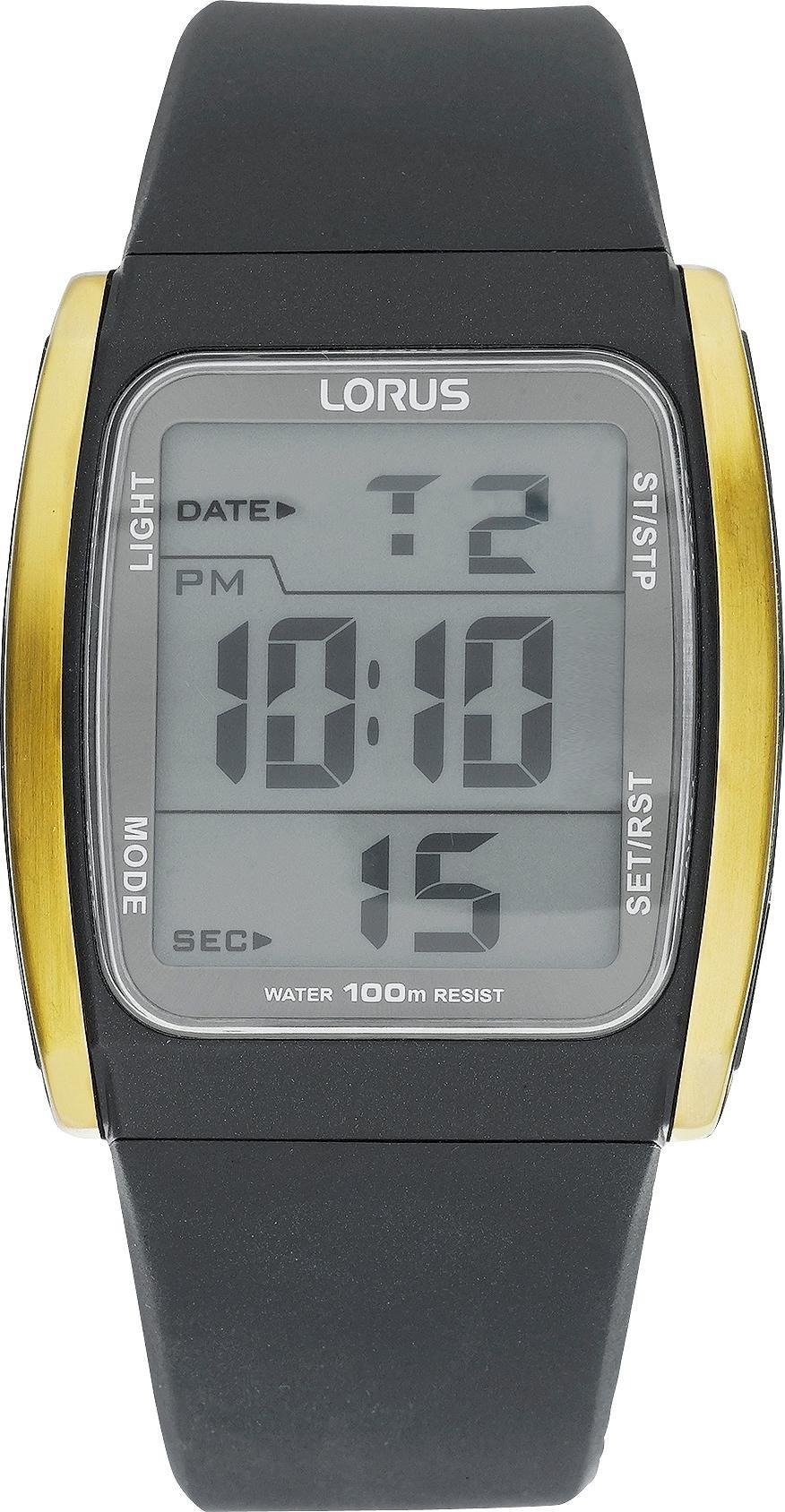 Lorus Men's Black Resin Strap Digital Watch