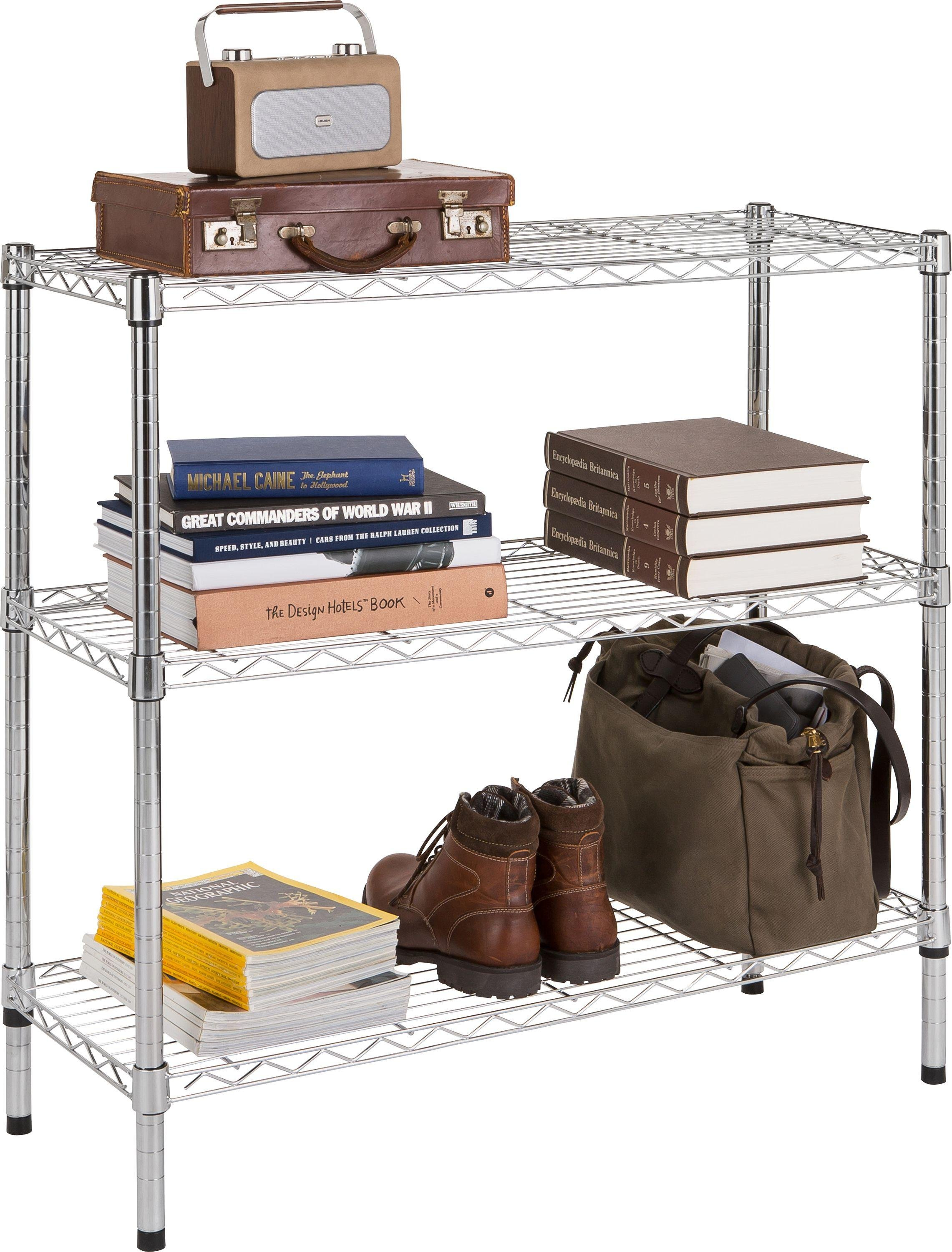 home heavy duty 3 tier metal shelving unit chrome plated