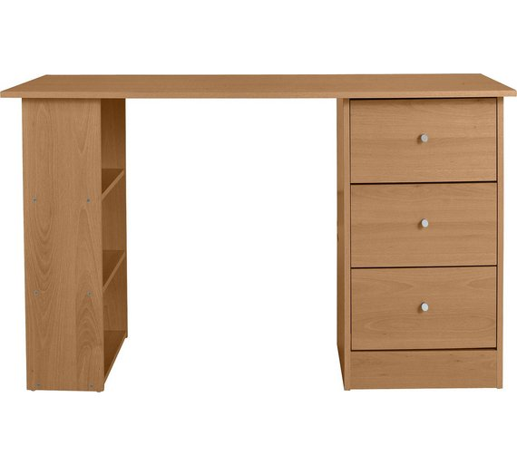 Buy HOME New Malibu 3 Drawer Desk - Oak at Argos.co.uk - Your ...