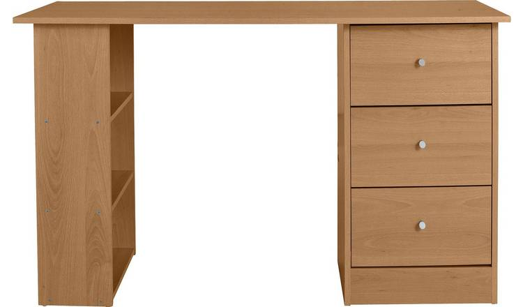 Habitat Malibu 3 Drawer Office Desk - Oak Effect