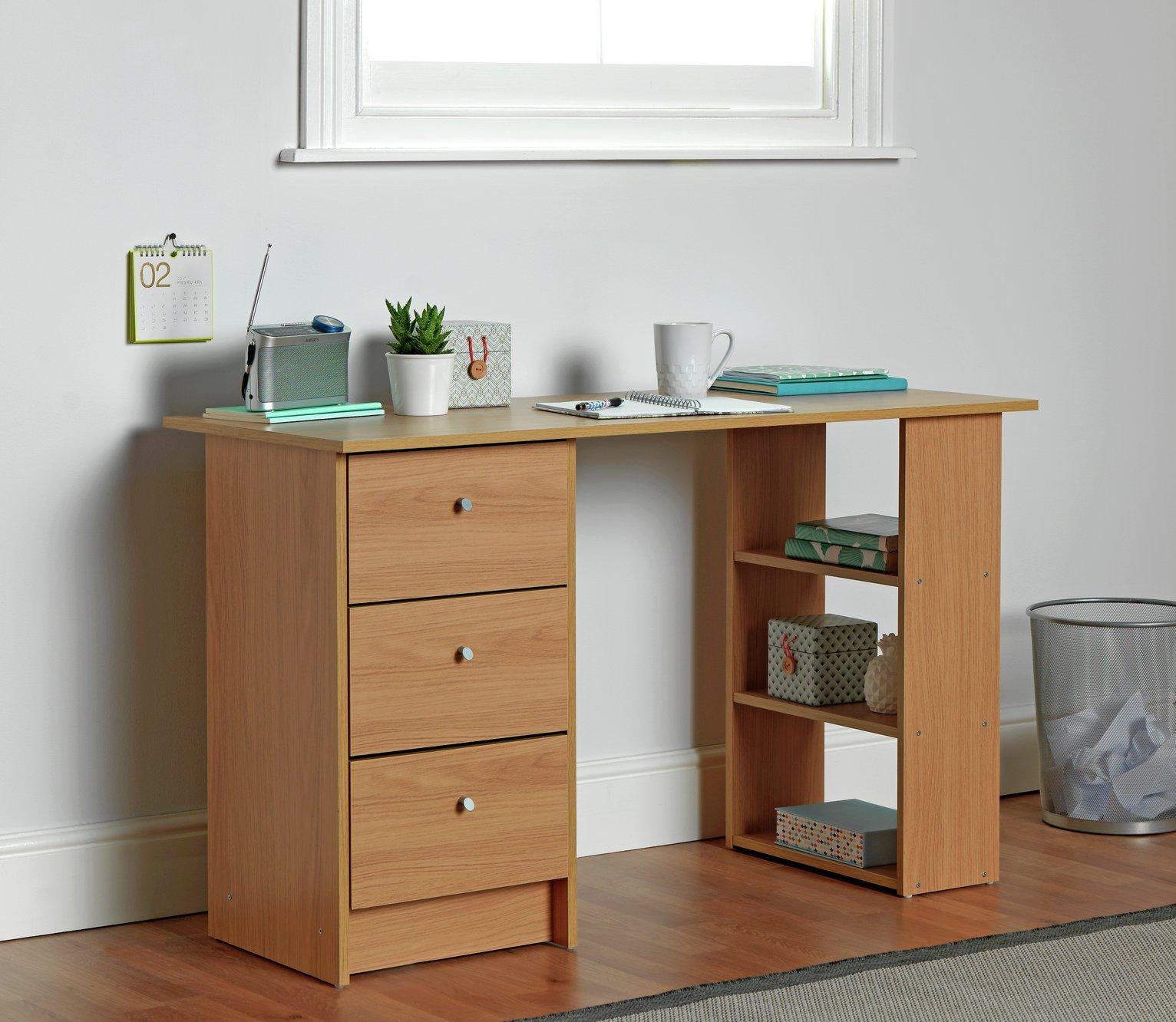 competitive price e9c85 210c0 Argos Home Malibu 3 Drawer Desk - Oak