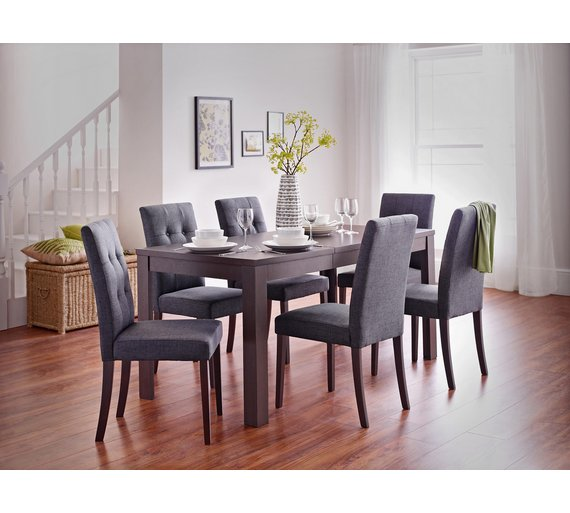 Buy collection adaline ext dining table 6 chairs walnut Walnut effect living room furniture