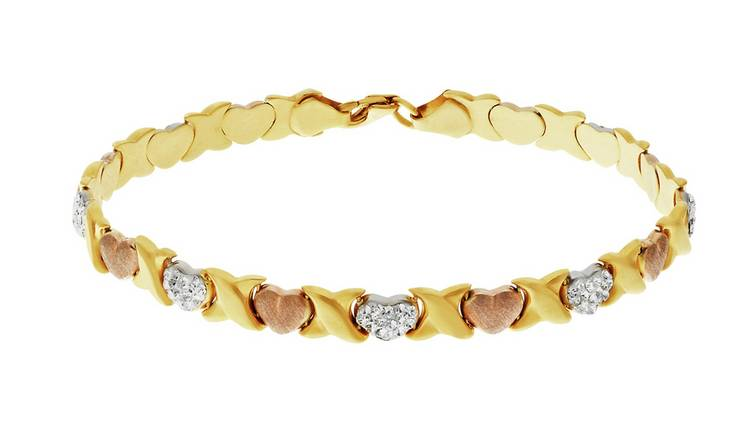a1f54d581eb Revere 9ct Gold Plated Silver Three Colour Crystal Bracelet247/9464