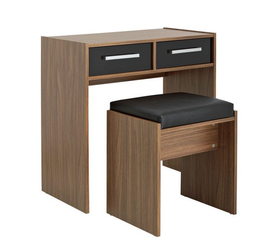 Buy HOME New Sywell Dressing Table Stool Walnut Black Gloss - Black gloss dressing table