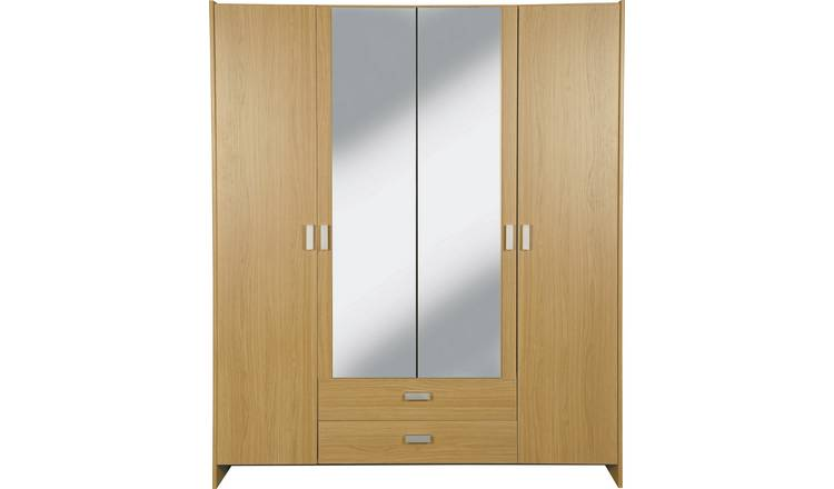 Argos Home Capella 4 Dr 2 Drw Mirrored Wardrobe - Oak Effect