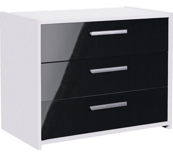 Buy HOME New Sywell Drawer Chest White Black Gloss At Argos - Black gloss chest of drawers