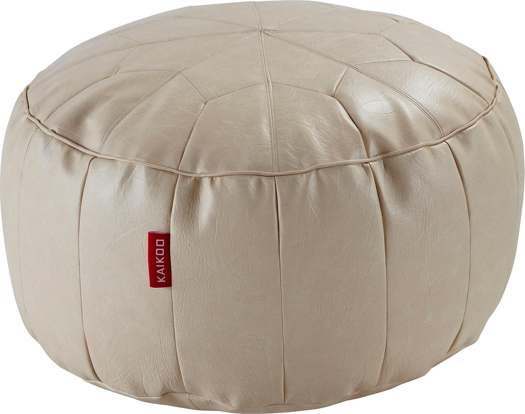 HOME - Moroccan - Leather Effect Footstool - Cream