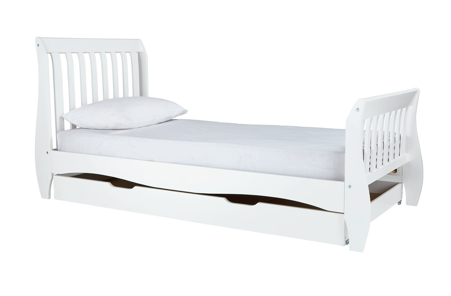 Collection Daisy Single Sleigh Bed Frame White