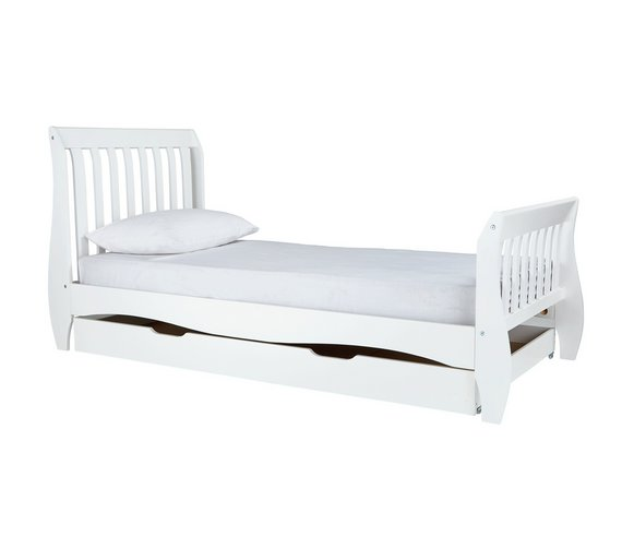 Buy Argos Home Daisy Single Sleigh Storage Bed Frame - White | Kids ...
