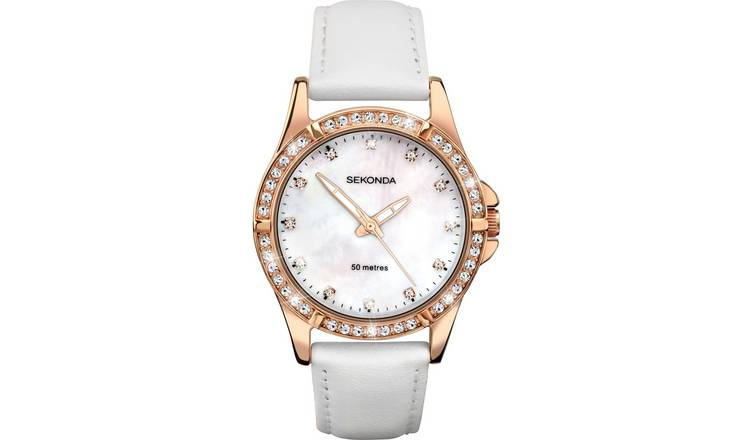 Sekonda Editions Ladies White Leather Strap Watch