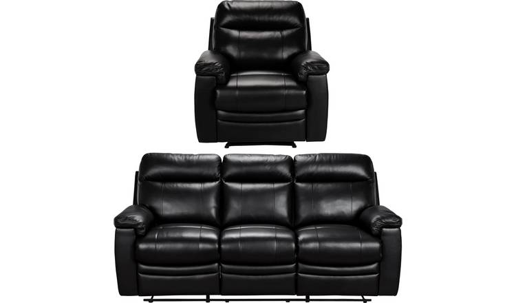 Argos Home Paolo Chair & 3 Seater Manual Recline Sofa -Black