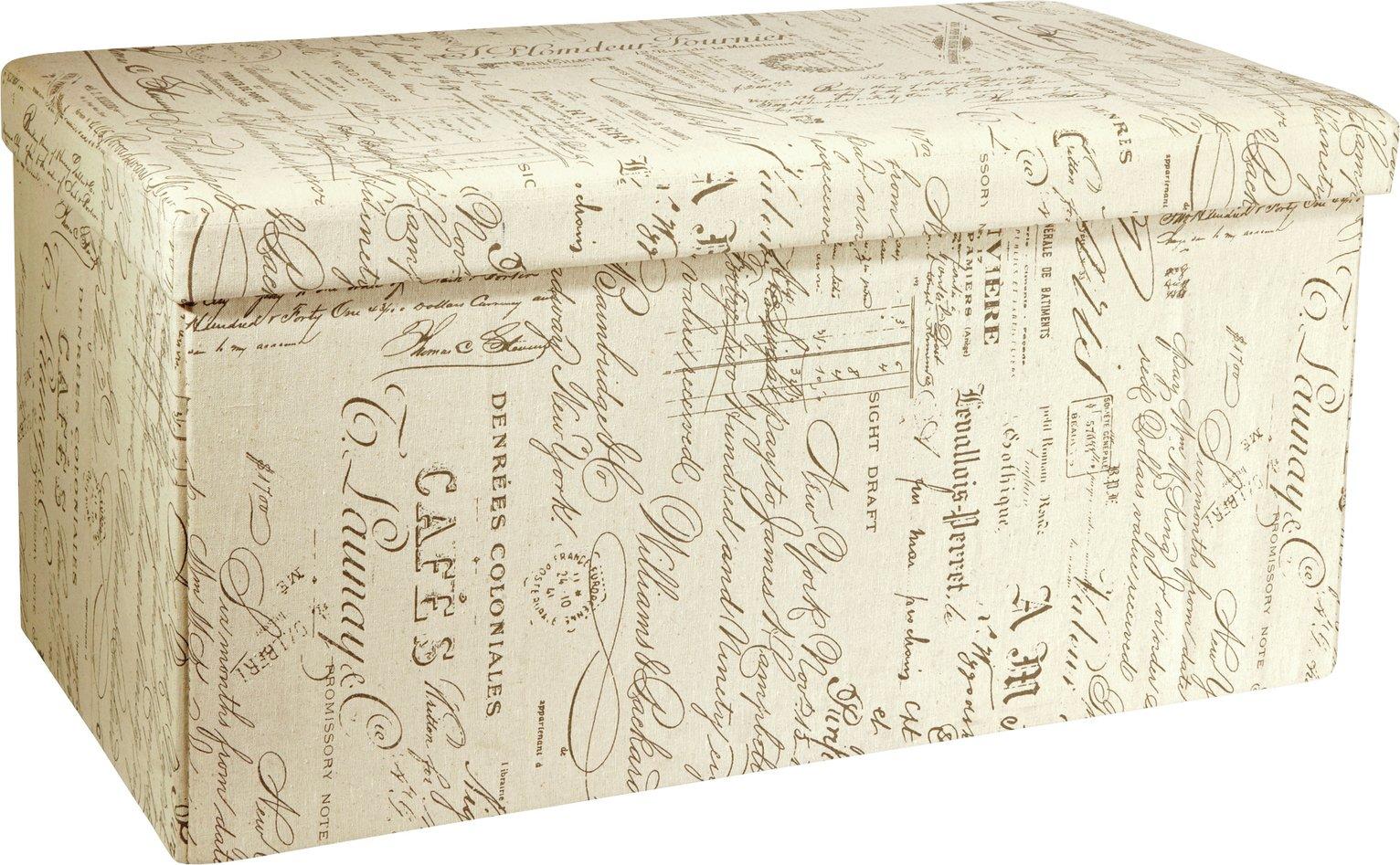 HOME Large Fabric Ottoman - Script