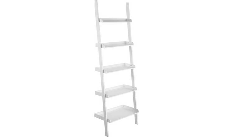 Habitat Jessie Wid5 Shelf Wide Leaning Bookcase - White