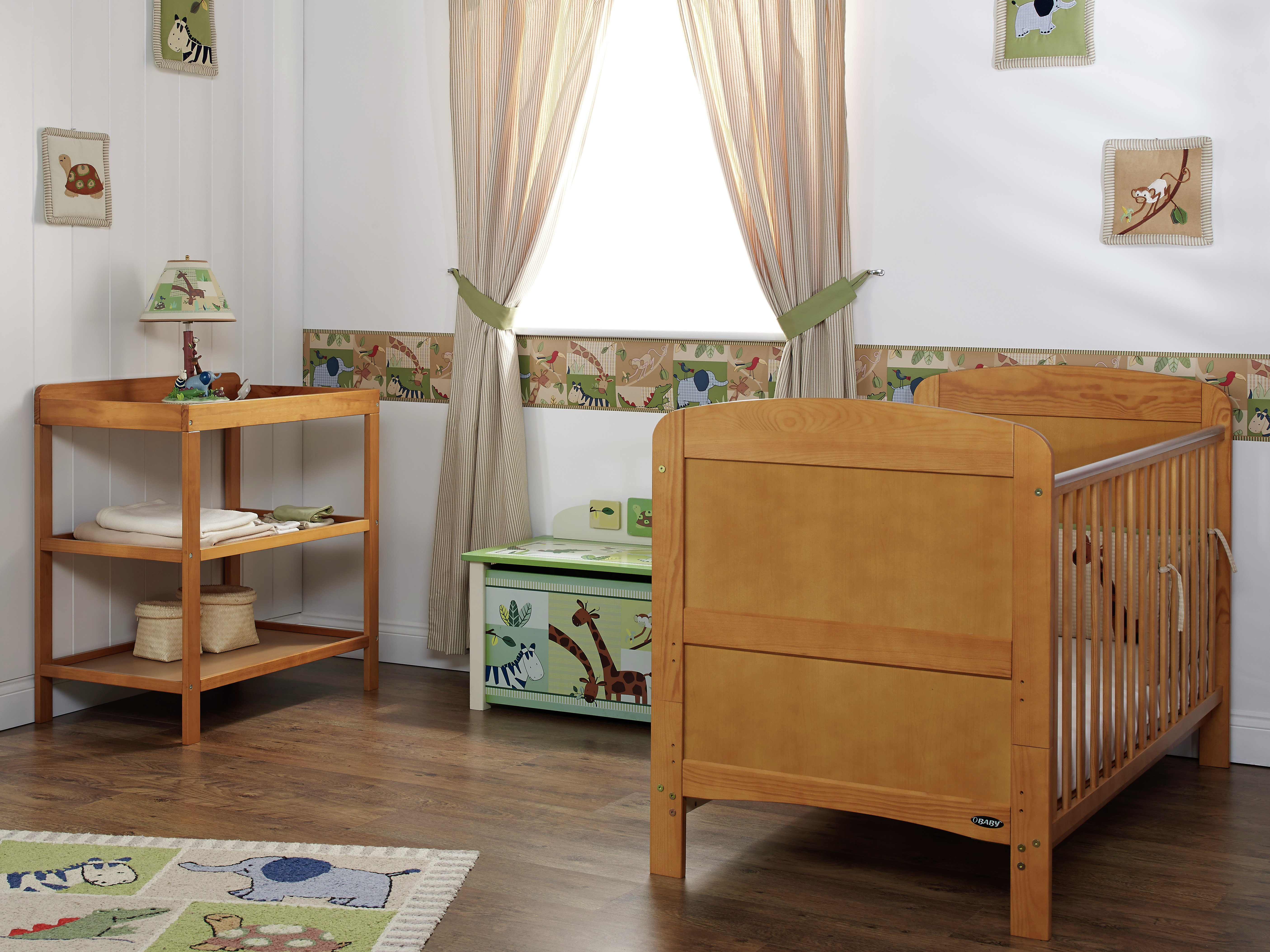 obaby grace 2 piece nursery furniture set  country pine.