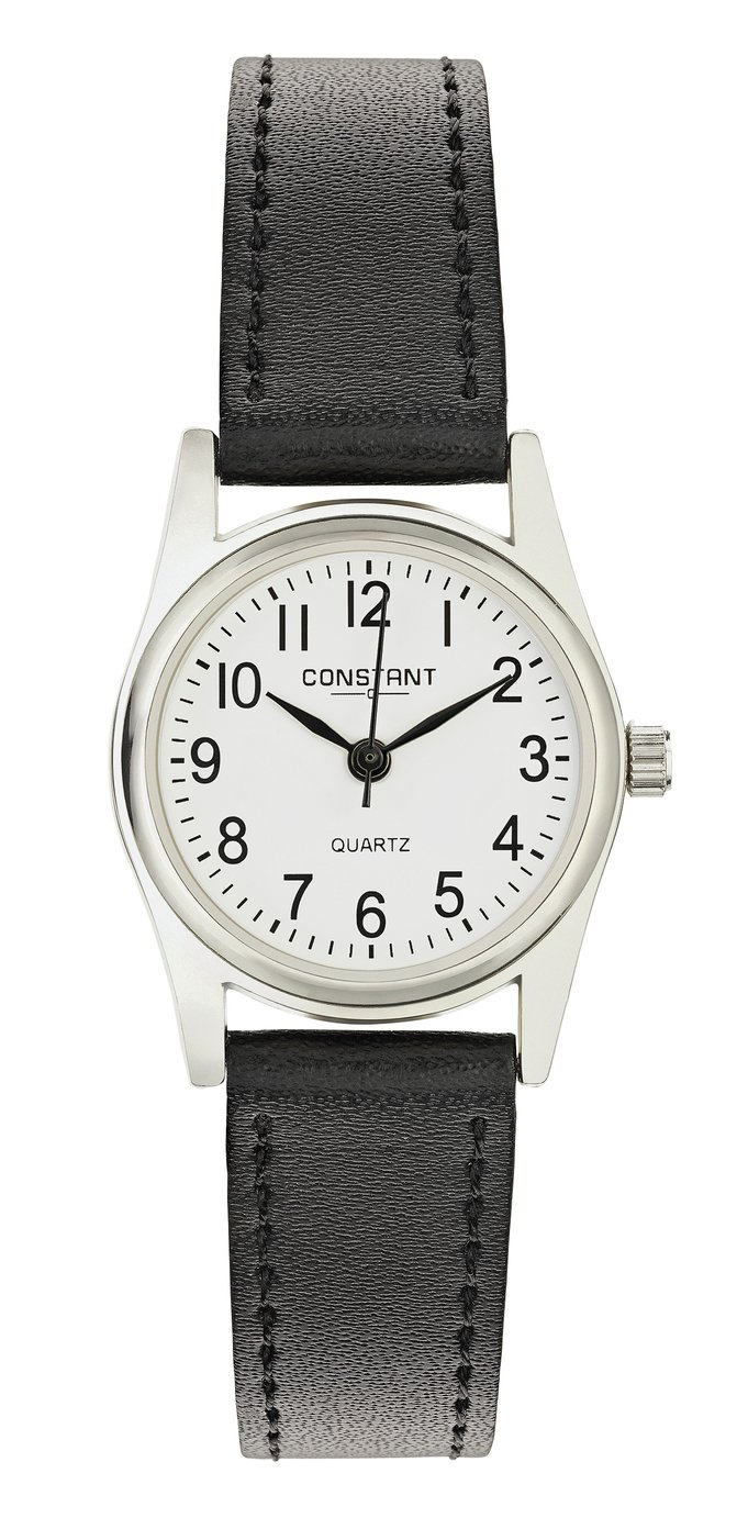 Constant Ladies' White Dial Black Strap Watch