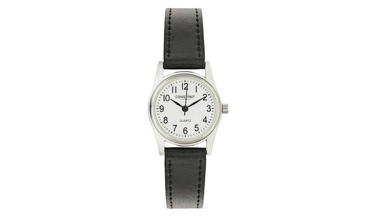 Constant Ladies White Dial Black Strap Watch