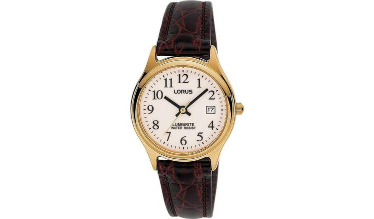 Lorus Ladies Brown Leather Strap Watch