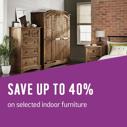 Save up to 40% on selected indoor furniture.