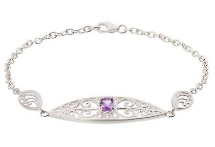 Revere Sterling Silver Filigree Amethyst Handmade Bracelet
