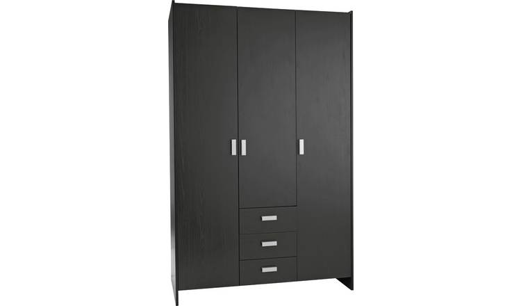 Argos Home New Capella 3 Door 3 Drawer Wardrobe - Black
