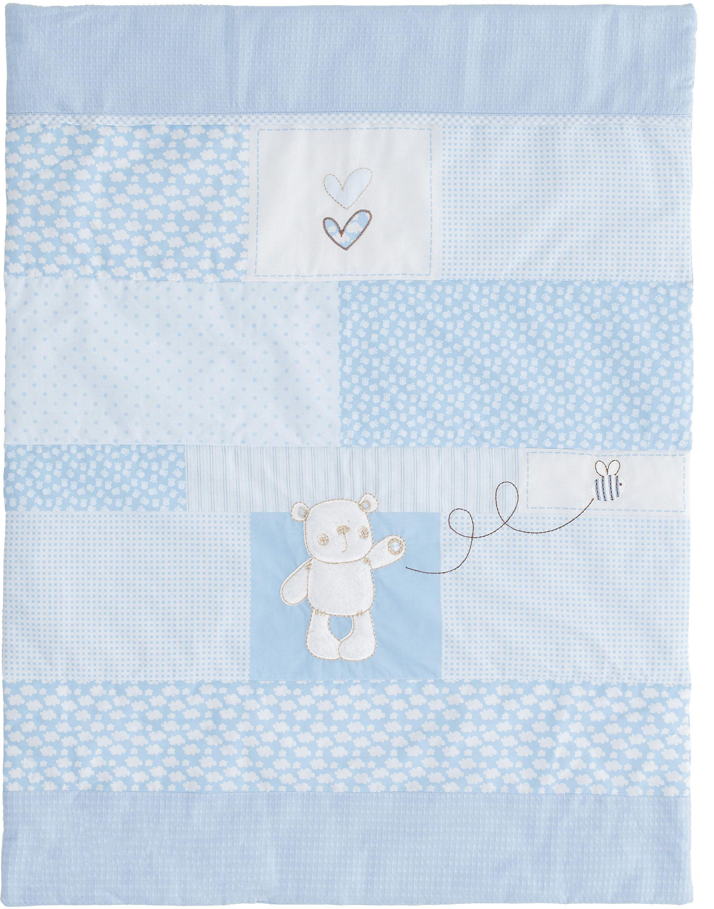 obaby b is for bear quilt and bumper crib set  blue.