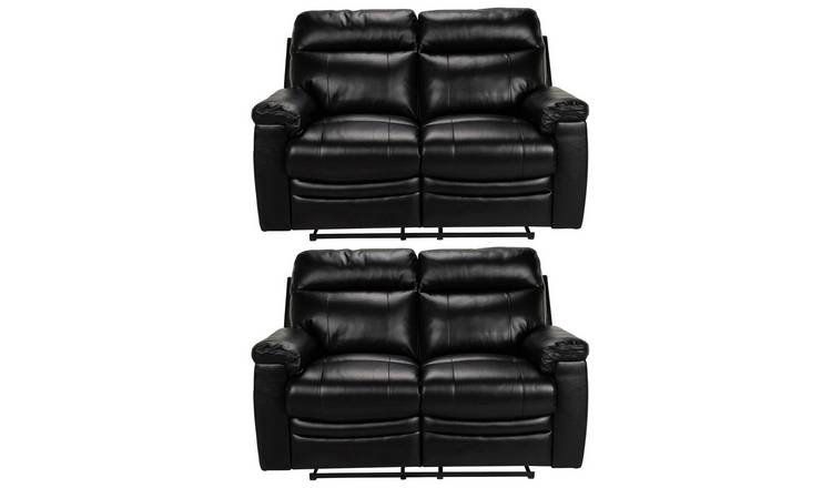 Argos Home Paolo Pair of 2 Seater Manual Recline Sofa -Black