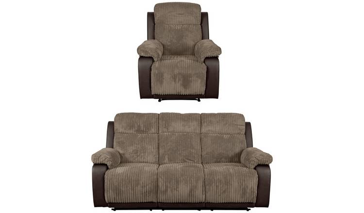 Argos Home Bradley Chair & 3 Seater Recliner Sofa - Natural