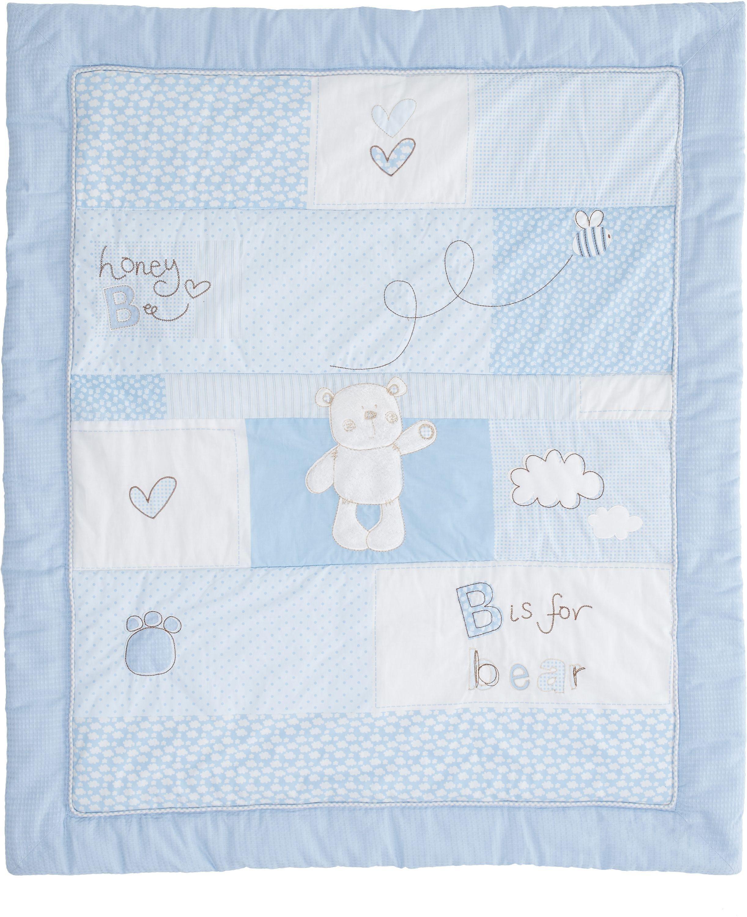 obaby b is for bear quilt and bumper set  blue.