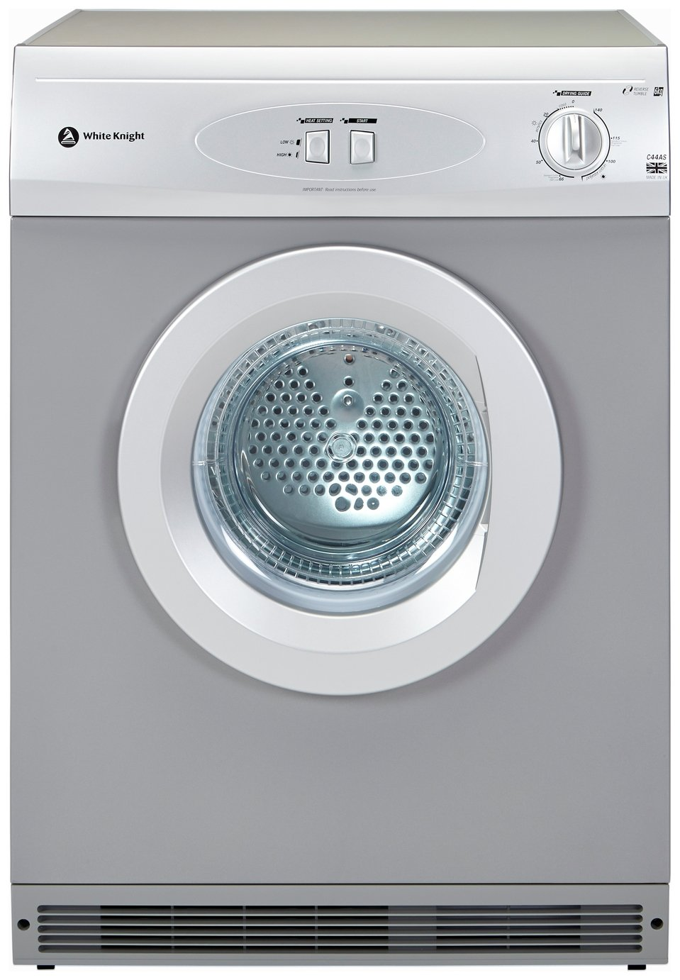 White Knight C44AS Vented Tumble Dryer - Silver