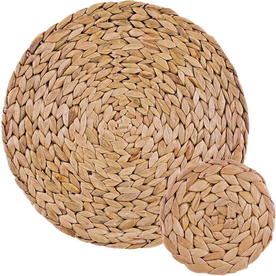 Image of Creative Tops - 4 Water Hyacinth Mats and Coasters