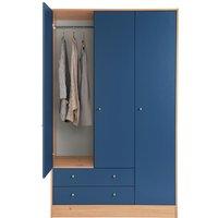 HOME - Kids New Malibu 3 Door 2 Drawer Wardrobe - Blue / Pine