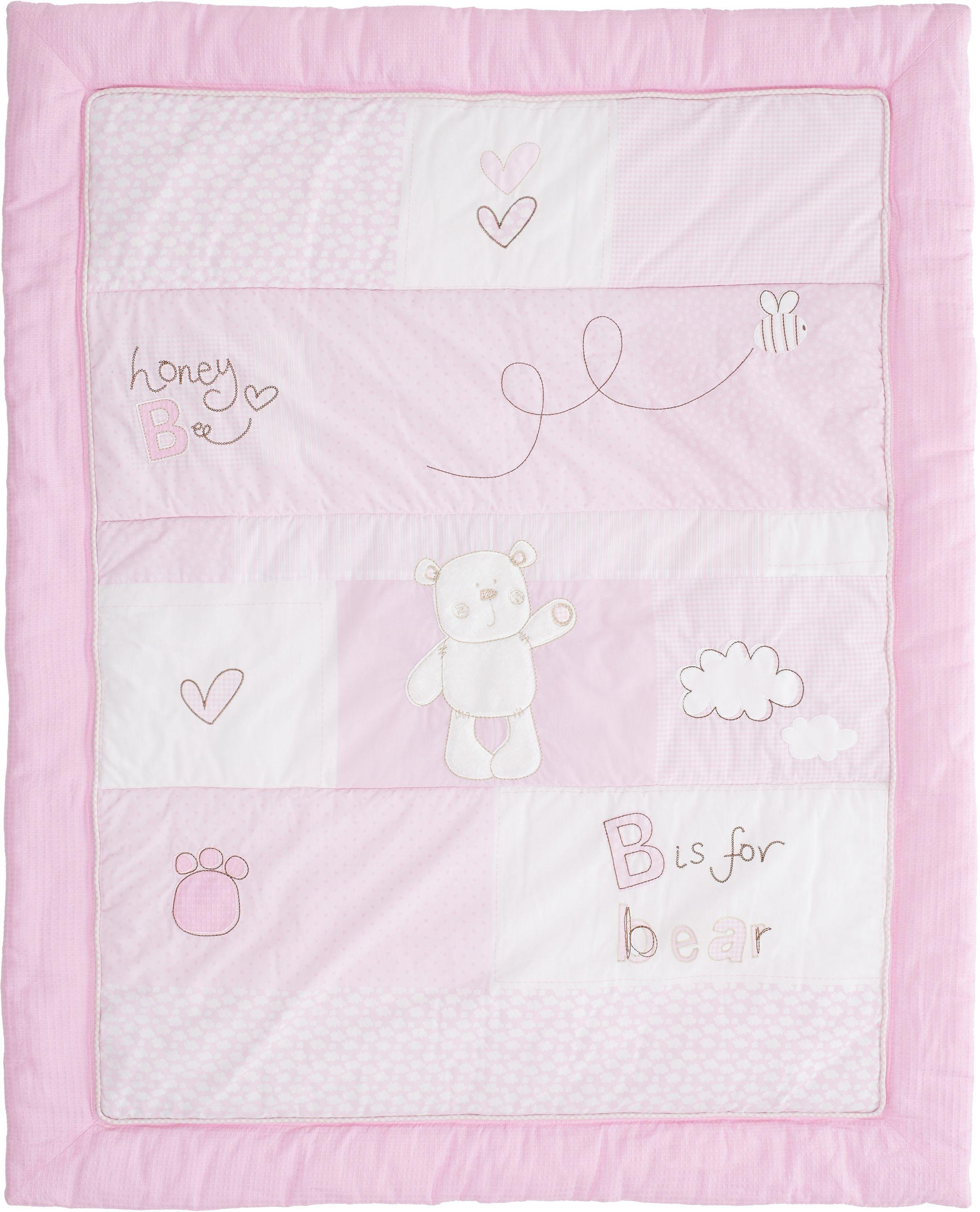 obaby b is for bear quilt and bumper set  pink.