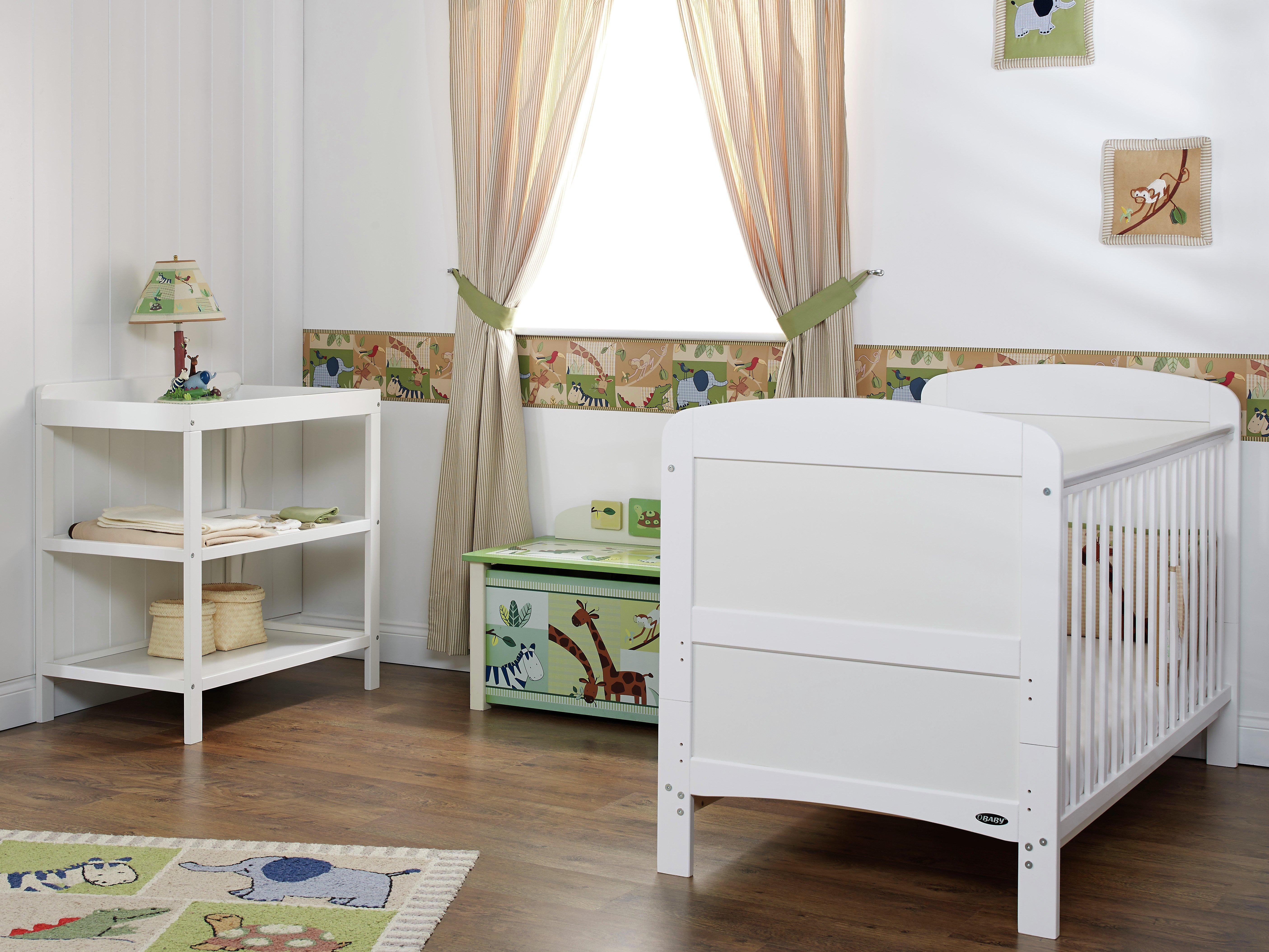 obaby grace 2 piece nursery furniture set  white.