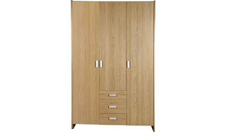 Argos Home New Capella 3 Door 3 Drawer Wardrobe - Oak Effect