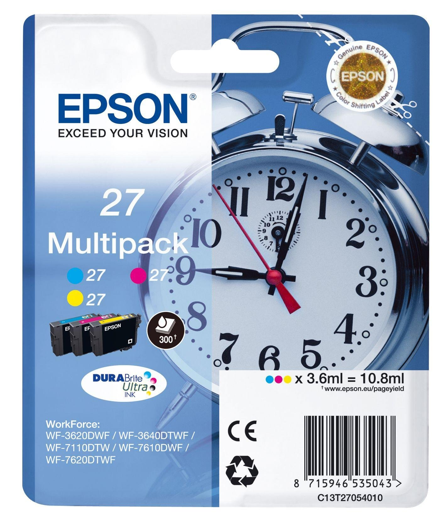 Image of Epson Alarm Clock 27 STD C/M/Y Multipack Ink Cartridge