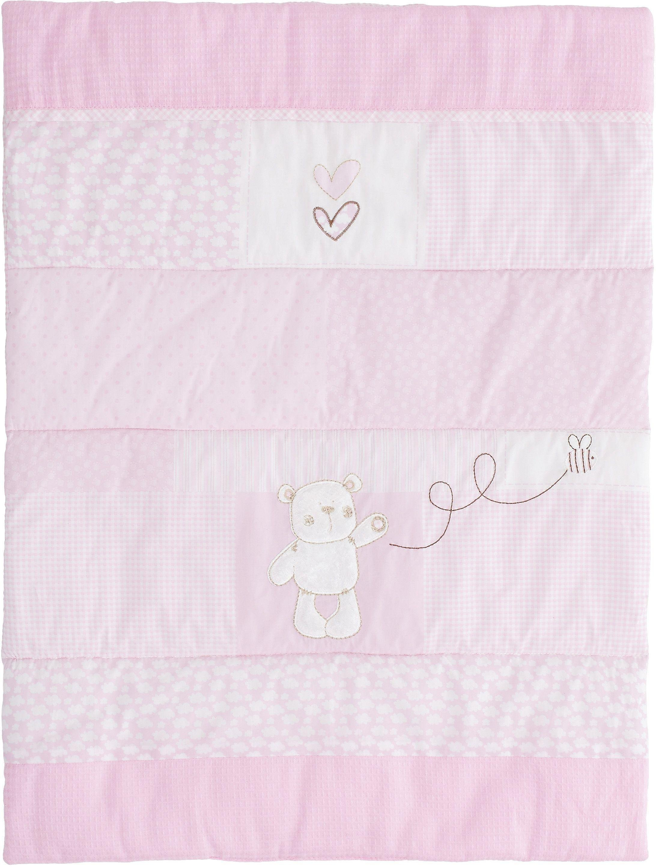 obaby b is for bear quilt and bumper crib set  pink.