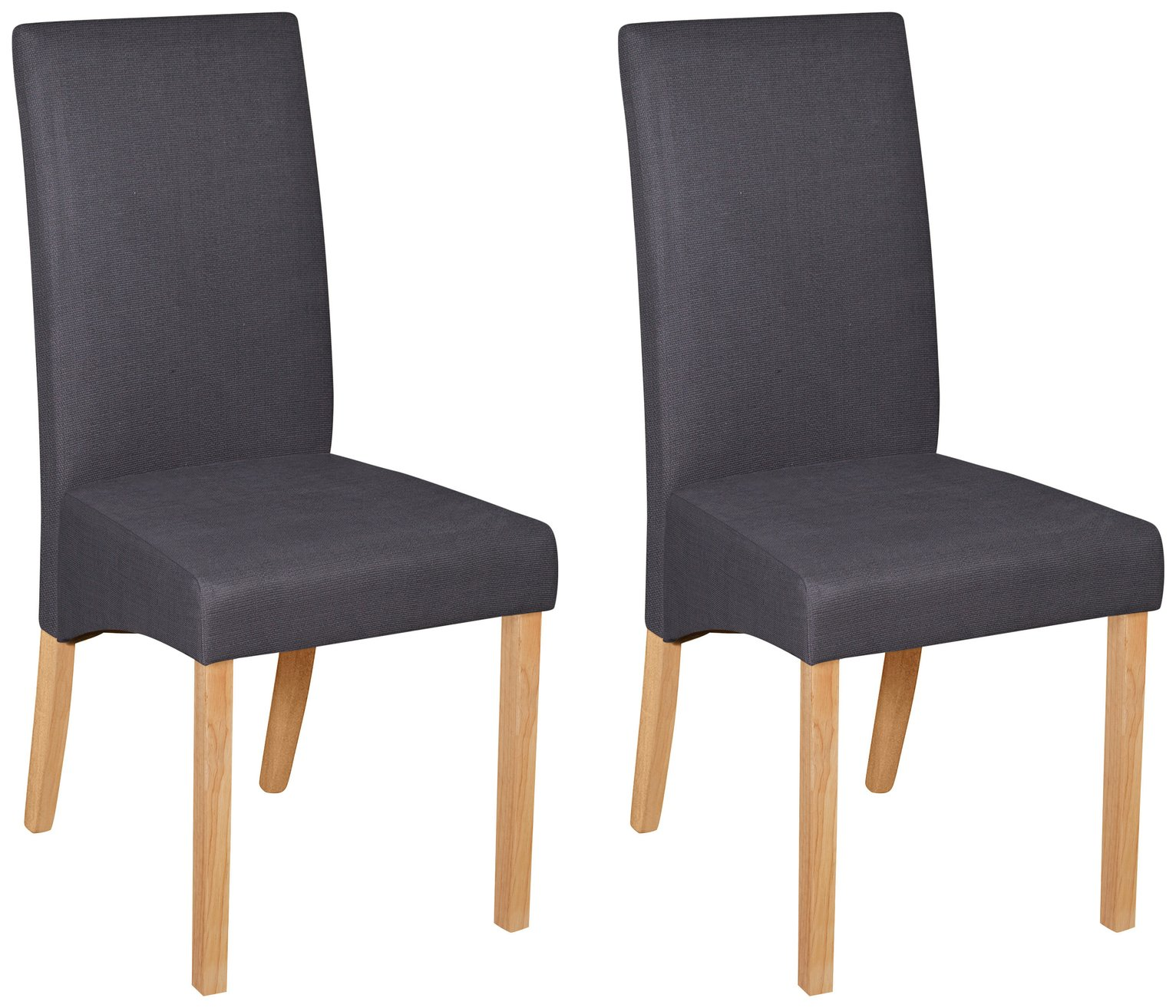 Image of Collection Pair of Charcoal Fabric Skirted Dining Chairs