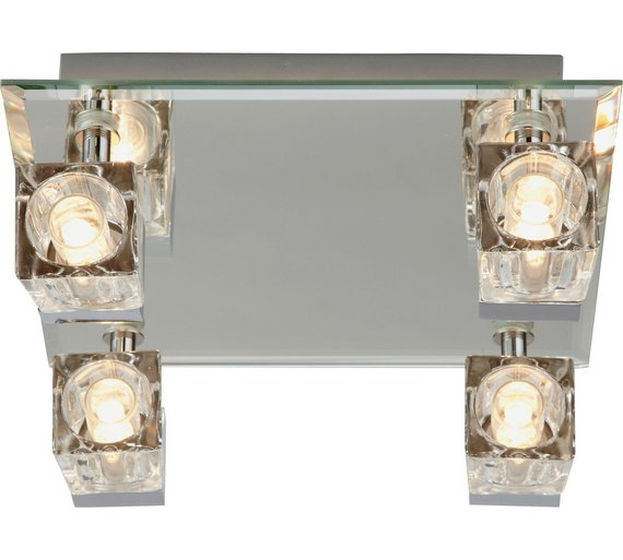 Buy Argos Home Mira 4 Glass Cube Bathroom Spotlights - Chrome ...