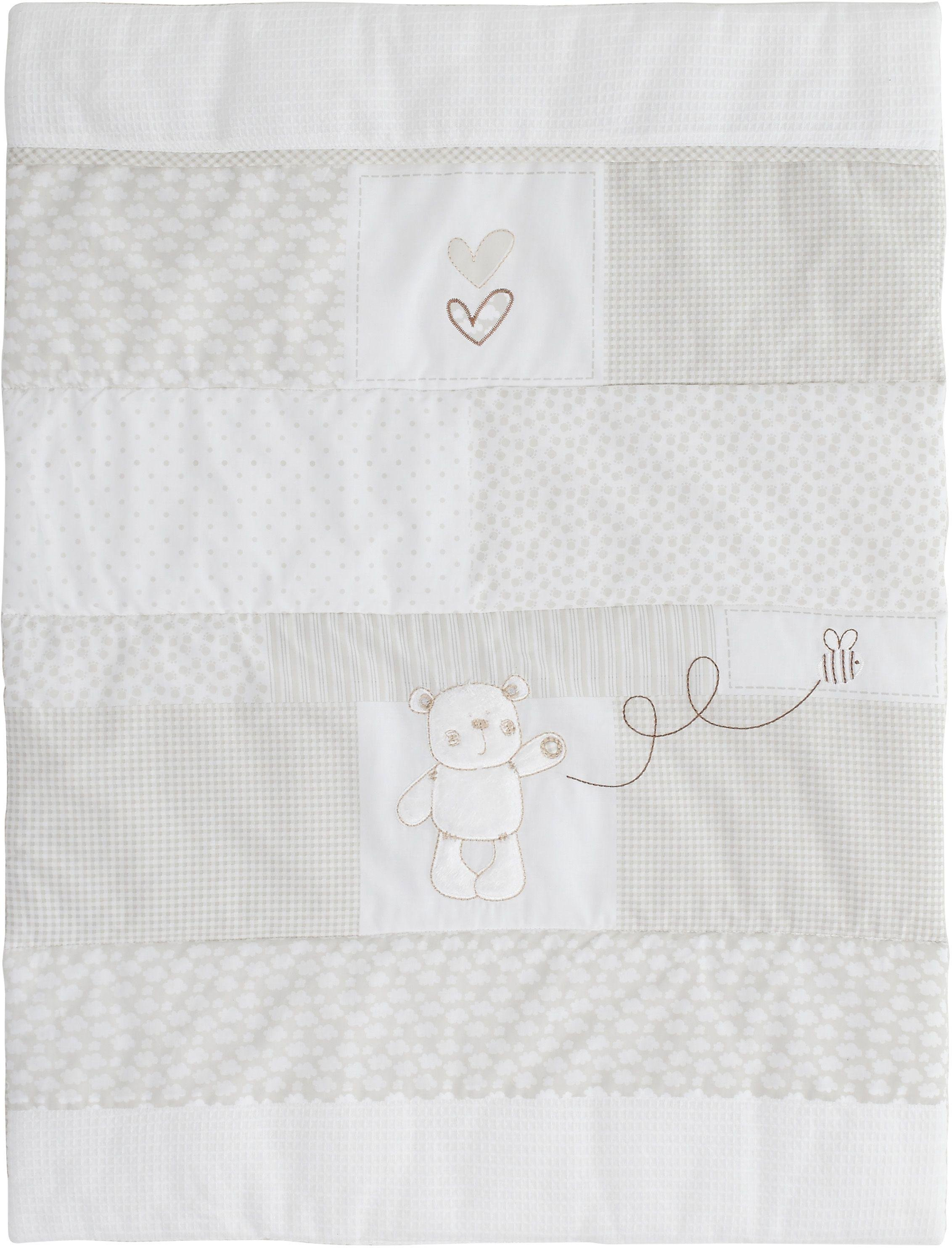 obaby b is for bear quilt and bumper crib set  white.