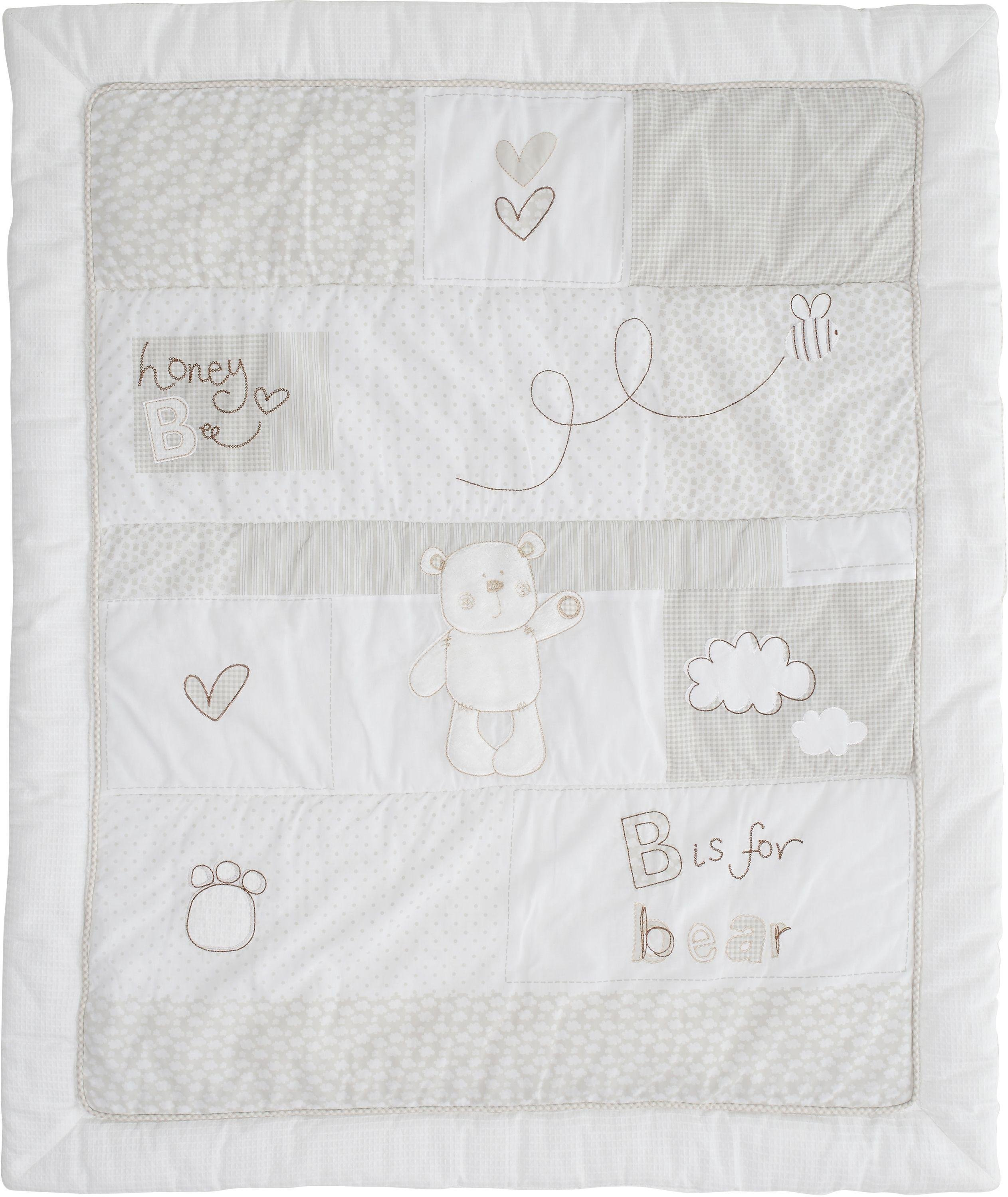 obaby b is for bear quilt and bumper set  white.