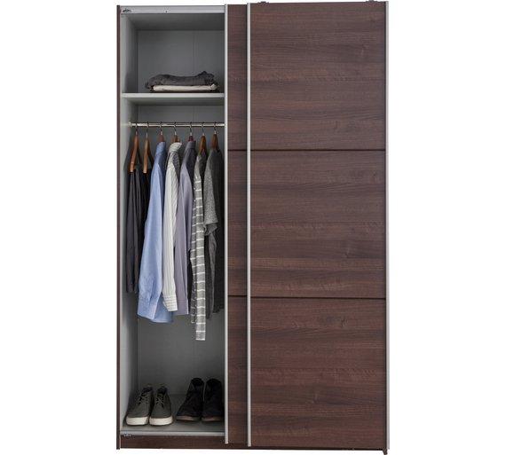 Buy hygena bergen 2 door small sliding wardrobe walnut effect at your online - Sliding door wardrobes for small spaces image ...