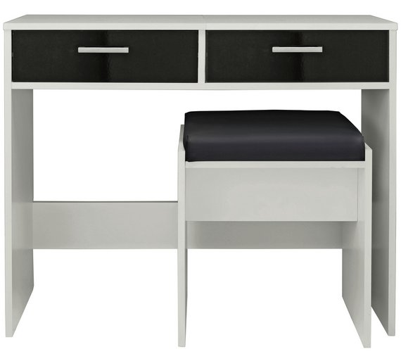 Buy HOME New Sywell Dressing Table Stool White Black Gloss - Black gloss dressing table