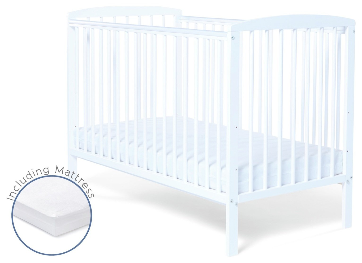 baby elegance starlight cot and mattress - white (2588025) | argos